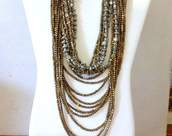 TWO Gold Silver Boho Necklace from Bali Metal Bead Necklace VIntage 80s