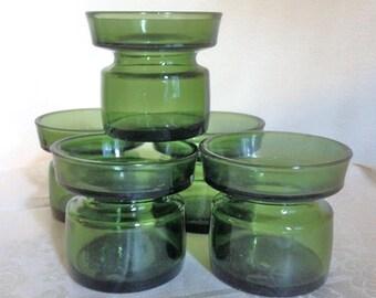 6 Dansk Green Glass Candle Holders Jens Quistgaard Danish Modern  Bud Vases