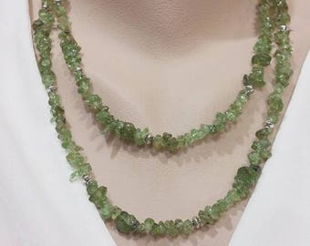 Long Peridot Necklace - Natural Chip Peridot, 38 Inches Long, Birthday Gift, August Gemstone