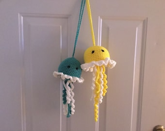 jellyfish set crochet teal and white and yellow and white