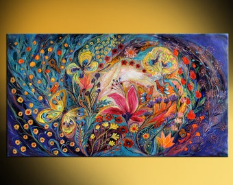 Blue Yellow Red Orange Figurative art Interior design canvas print flowers and birds Wall hangings Home Decor XL size  Spiral of Life