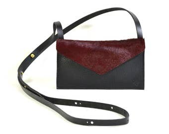 Eve - Handmade Black & Red Leather Cross Body Shoulder Purse Zip Pouch. SS17