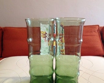 Pair of Vintage 60s Green Bamboo Cocktail Glasses