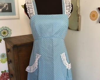 Vintage Maxi Dress, Blue Polka Dot Prairie Dress, Boho Festival Style
