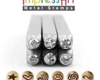 6 Pack SYMBOLS AND SHAPES 3 ImpressArt 3mm Metal Stamp Set of 6