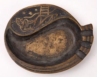 Vintage Israel Brass Ashtray