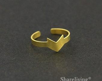 2pcs Raw Brass Chevron Ring,Adjustable Chevron Brass Rings - TR002