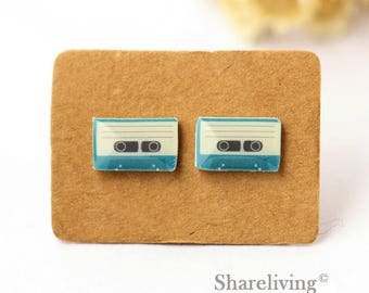 4pcs (2 pairs) Mini Vintage Tape Charm / Pendant, Stud Earring, Laser Cut Tiny magnetic tape Earring, Perfect for Earring / Rings - YED023X