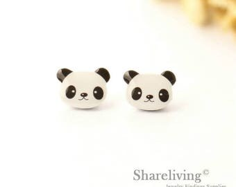 4pcs (2 pairs) Mini Panda Charm / Pendant, Stud Earring, Laser Cut Tiny Panda Earring, Perfect for Earring / Ring - YED026P
