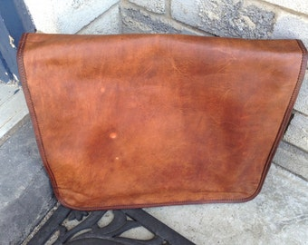 "16"" Leather Messenger Bag, Boho, Handmade, Naturally Tanned, Vintage Look"