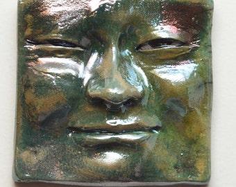 Green Luster Face Tile: Handmade Raku Buddha Wall Hanging 5 X 5