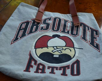 Super Absloute Fatto Gray Upcycle t-shirt  Tote Handmade Bag