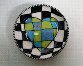 Ceramic Heart Bowl Sweetheart Valentines Day Op Art hand painted by Sharon Bloom