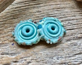 CRUSTY ORGANIC DISCS - Handmade Lampwork Disc Beads - Earring Pair - 2 Disc Beads