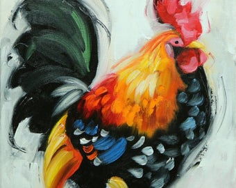 Rooster 862 12x12 inch animal portrait original oil painting by Roz