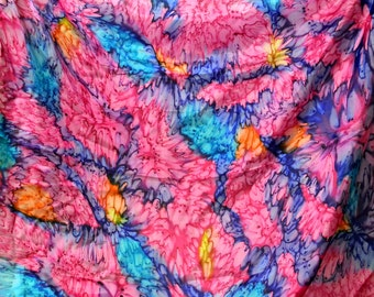Vintage Pink and Blue Watercolor Silk  Scarf 33 inches Square