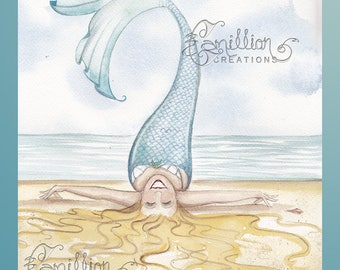 I Love the Beach Mermaid Print from Original Watercolor Painting by Camille Grimshaw