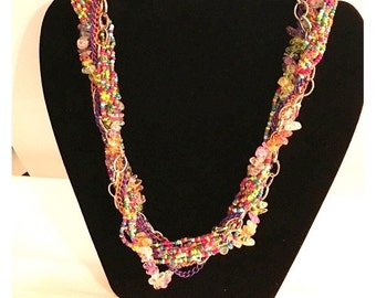 Vintage Multiple Strand Multi-Color Glass Bead Necklace