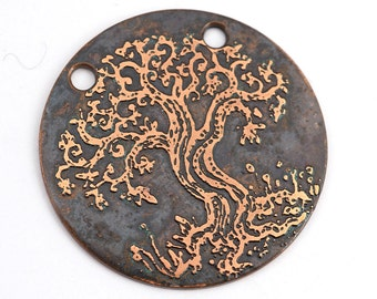 2 hole tree necklace component, flat etched copper handmade pendant, jewelry supply, 28mm