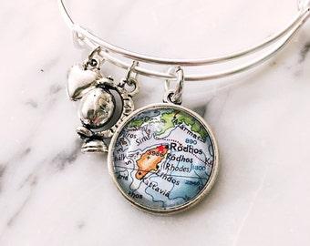 Rhodes Greece Map Charm Bangle Bracelet - Personalized Map Jewelry - Bangle - Rhodos - Greek Islands - Travel - Wanderlust