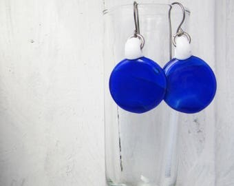 BLue and White Round Minimalist Glass Earrings