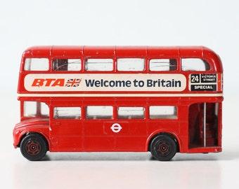 Vintage Double Decker Bus, Welcome to Britain, BTA Miniature Toy Bus, Corgi