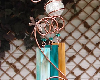 Dragonfly Windchime Glass Wind Chimes Copper Garden Ornament Art Sculpture Stained Glass Metal Yard Lawn Outdoor Decor