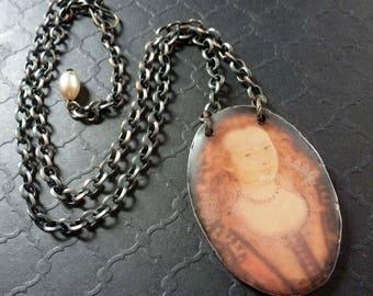 Winter Queen ~ resin art portrait necklace ~ rustic earthy copper ~ ooak
