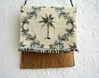 Unique Shoulder Bag , Small Messenger Handbag , Brown Beige Green , Summer Purse , Tropical , Palm Trees , Women's Handbag , Gift for Her