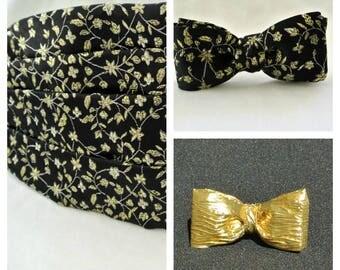 Tuxedo Set , Cummerbund with 2 Bow Ties , Formal Wear , Wedding Bowtie Set , Mens Prom Fashion , 2 Ties , Mens Gift