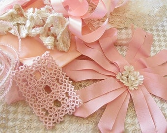 Tickled Pink...Lovely Lot of Vintage Ribbon, Tatting, Trims, & Sweets