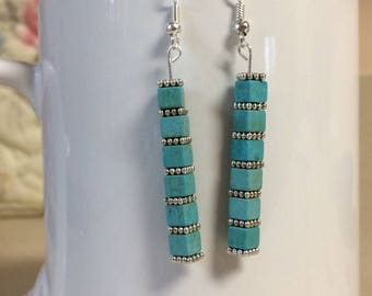 Turquoise howlite cube earrings