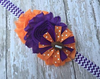 Clemson Inspired Baby Headband Orange and Purple Headband Clemson Tigers Inspired Headband Football Headband Tigers Headband