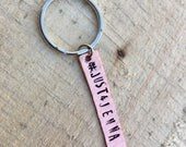 Just 4 Jenna keychain #just4jenna copper hand cut and stamped metal work just plain Jane designer pray for Jenna