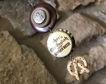 Ginger Beer & a Pretzel - Vintage Found Object Assemblage Necklace pendant - OOAK, up cycled recycled, repurposed, Bottlecap, Buttons, Junk