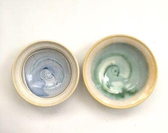 Blue and Green Glazed Stoneware Saucer Set of 2