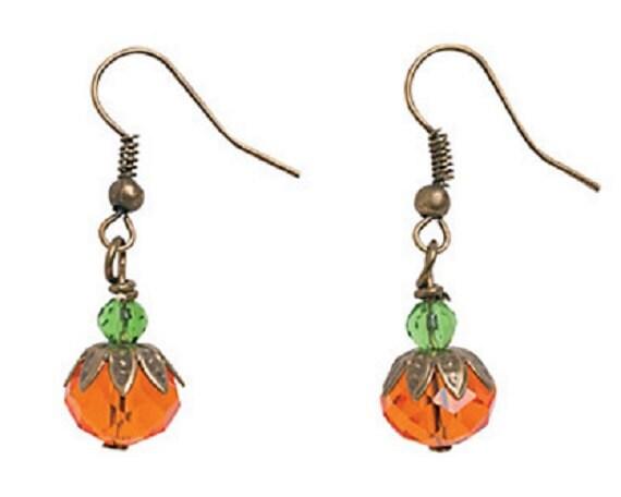Pumpkin Bead Cap Earrings