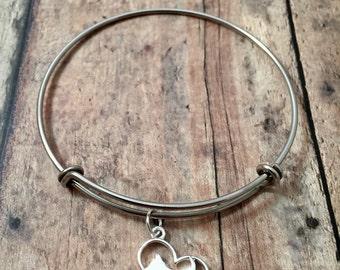 Scottish terrier heart bangle - Scottie dog jewelry, terrier bracelet, scotty dog bangle, terrier jewelry, silver scottie bracelet