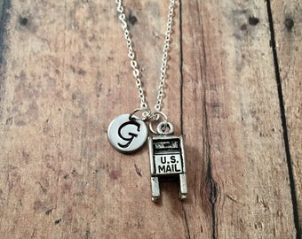 Mailbox initial necklace- mail box jewelry, gift for mail carrier, US mail jewelry, post office jewelry, mail carrier necklace, mail jewelry