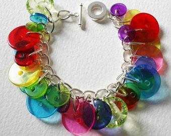 Button Bracelet MultiColor Jelly Rainbow Mix