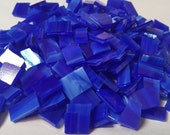 Mosaic Tiles 50 Dark Blue Streaky Stained Glass Mosaic Tile