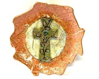 Stoneware pottery bowl - handmade pedestal bowl - cross design - display bowl
