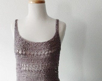 January Sale Hand Knit Lace Cotton Coverup Top - Hip Length Tank Top Sleeveless Strappy Top Light Grey Textured Knit Summer Layering Boho Be