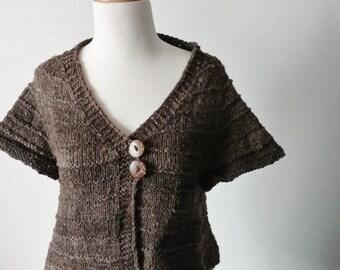Rustic Textured Rare Wool Flared Layering Sweater - Rare CVM Wool. Natural Warm Grey Gradient Sweater. Mori Girl, Natural, Rustic, Lanolin