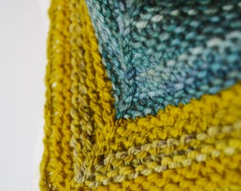 Colorblock Kerchief Cowl - Aguas Blues and Mustard Yellows--Button Cowl Triangle Scarf Mini Scarf Spring Feverish Neckpiece Headwrap Soft