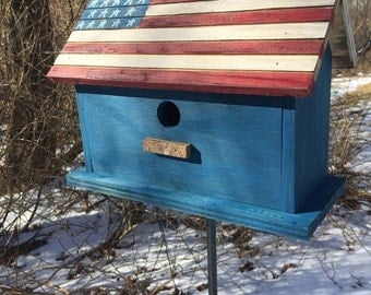 Primitive Flag Birdhouse Red White and Blue