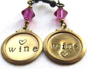 Wine Lovers Hand Stamped Earrings, Handstamped Brass and Crystal, Quirky Earrings, Word Earrings