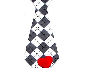Valentines Day , Argyle Tie, Heart,Fabric Iron On Applique, Three Tie Sizes Avaliable