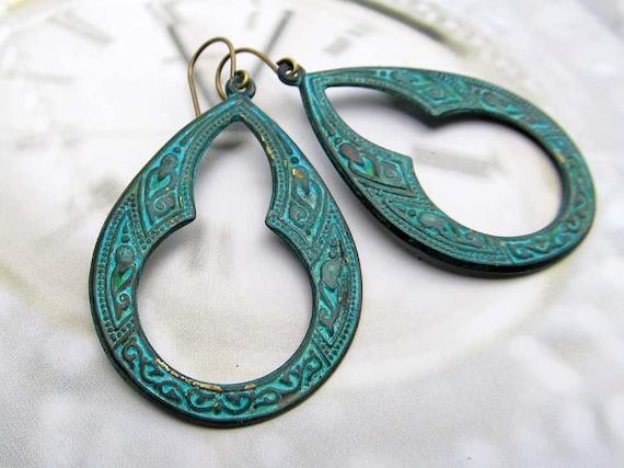 Turquoise earrings bohemian earrings patina hoop earrings Moroccan jewelry