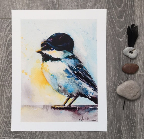 Black Capped Chickadee Bird watercolour painting